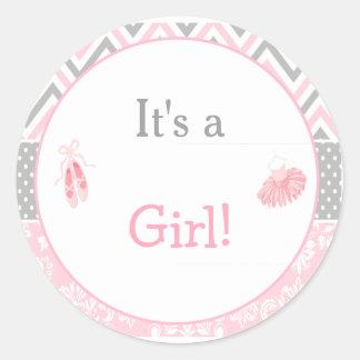 It's a Girl Ballet Baby Shower Classic Round Sticker