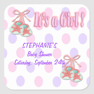 It's a Girl - Booties Baby Shower Favor stickers