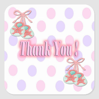 It's a Girl - Booties Thank You envelope enclosure Square Sticker