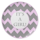 Its A Girl Chevron Milestone Plate