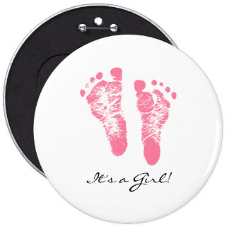 Its a Girl Chic Pink Newborn Footprints 6 Cm Round Badge