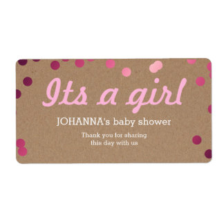 Its A Girl Confetti Kraft Paper Water Bottle Favor