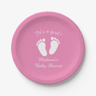 It's a girl cute footprints baby shower party paper plate