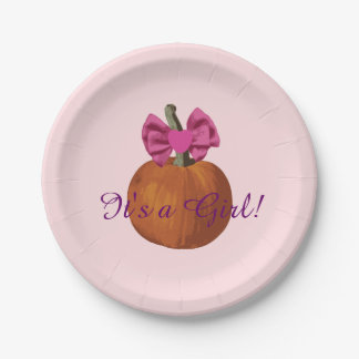 It's a Girl Cute Lil Pumpkin Baby Shower Paper Plate