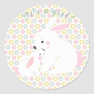 It's a girl! Cute mother & baby bunny stickers