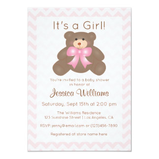 It's a Girl Cute Teddy Bear Pink Girl Baby Shower Card