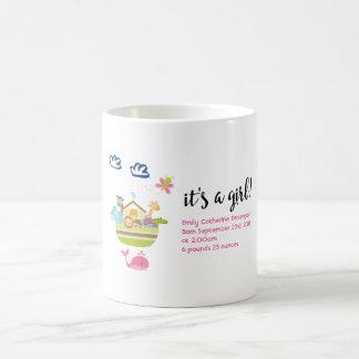 It's a Girl Cute Zoo Animal Ark Birth Coffee Mug