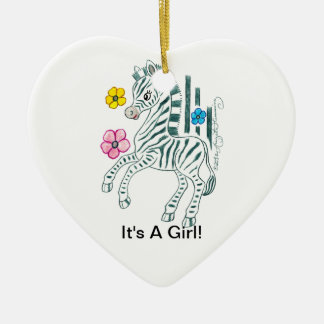 It's a Girl Ceramic Heart Decoration