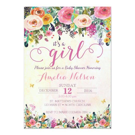 Its A Girl Floral Garden Baby Shower Invitation Zazzle Com Au