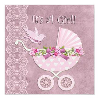 """It's A Girl! 5.25"""" Square Invitation Card"""