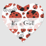 It's a Girl - Ladybugs, Ladybirds - Red Black Heart Sticker