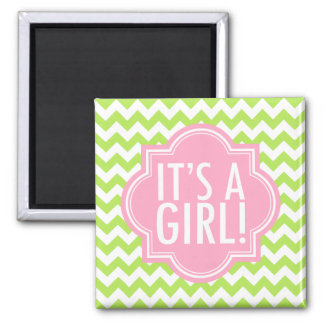It's a Girl Lime Green Chevron and Pink Square Magnet