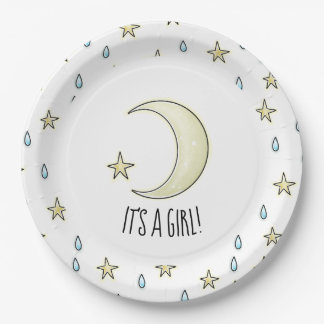 It's a girl Moon and stars Paper Plate