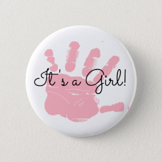 It's a Girl, New Baby Birth Announcement Button