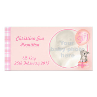 """""""It's a girl"""" newborn baby announcement card Customised Photo Card"""