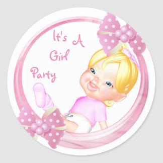 It's a Girl Party Collection Round Sticker