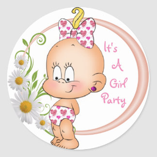 It's a Girl Party Round Sticker