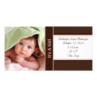 It's A Girl -Photo Card Stats Deep Brown Pink Dots Personalised Photo Card