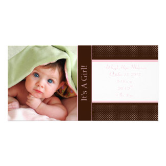 It's A Girl -Photo Card Stats Deep Brown Pink Dots Picture Card