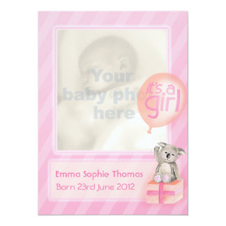 It's a girl photo newborn baby announcement card