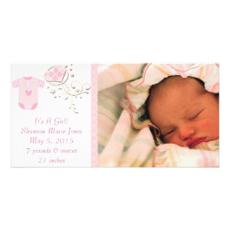 It's A Girl Pink Argyle Cute New Baby Announcement Photo Card
