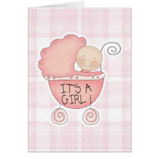It's a Girl Pink Baby Buggy Congratulations Card