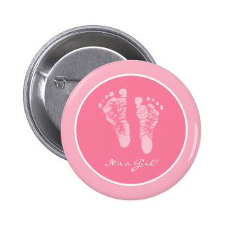Its a Girl Pink Baby Footprints Birth Announcement 6 Cm Round Badge