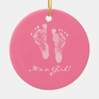 Its a Girl Pink Baby Footprints Birth Announcement Ceramic Ornament