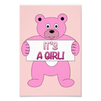 It's A Girl Pink Bear Photo Print