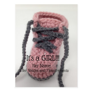 It's a Girl Pink Booty Birth Announcement Postcard
