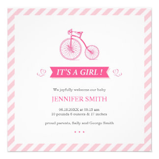 It's a Girl Pink Flat Announcement Card