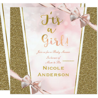 It's a Girl Pink Gold Ethnic Dark Girl Baby Shower Card