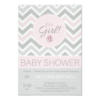 It's a Girl Pink/Grey Chevron Baby Shower Card