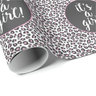 It's a girl! Pink & leopard print Wrapping Paper
