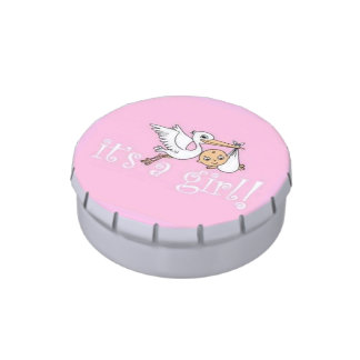 It's a Girl Pink Stork Jelly Belly Candy Tin
