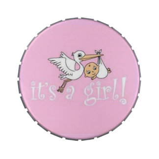 It's a Girl Pink Stork Jelly Belly Tin