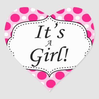 Its A Girl Polka Dot Milestone Heart Sticker