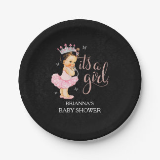 It's a Girl Princess Baby Shower plates 7 Inch Paper Plate
