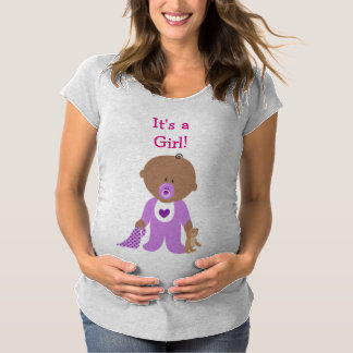 It's a Girl Purple Dressed Baby  Maternity Shirt