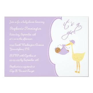 It's a girl purple stork baby shower invitation