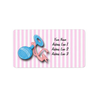 It's a Girl - Rattle Baby Shower Address Labels