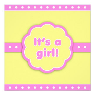 It's a Girl Retro Flat Announcement Card