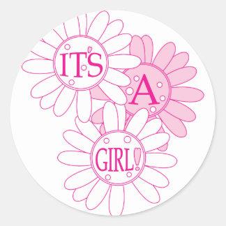 Its A Girl Round Sticker