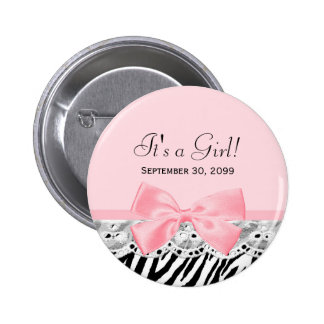 Its a Girl Shower Pink Ribbon and Lace Zebra Print 6 Cm Round Badge
