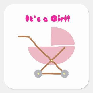 Its a Girl Square Sticker