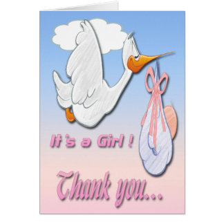 It's a Girl Stork Baby Shower Thank You card
