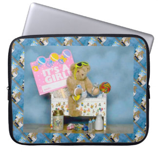 It's a girl, teddy bear in a cot laptop computer sleeves