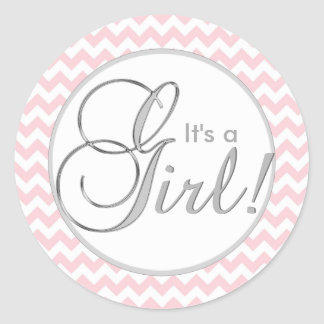 IT'S A GIRL! Trendy Pink Chevron Baby Shower Classic Round Sticker