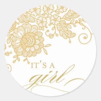 it's a girl - vintage lace round sticker
