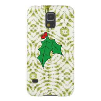 It's a green Christmas, with holly Case For Galaxy S5
